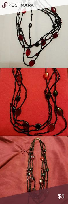 Multi-strand necklace Black and red beaded, multi strand necklace. Jewelry Necklaces