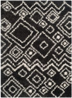 Charcoal / Ivory Safavieh Power loomed Belize Shag Area Rugs -SGB488C #Safavieh #Casual
