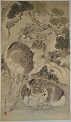 Kishi GANTAI (1782-1865) | JapanesePrints-London -- An extremely large painting, 55.5 x 32 in; 141 x 81.3 cms, sumi and light colour on silk. Shows a pair of Sika deer, their summer coats spotted and white. Gantai was the son and pupil of Ganku, and together with his brother, Renzan, carried on the Kishi school tradition. With his father, worked on the paintings for the new Kanazawa Castle in 1809. A highly accomplished painter, especially of kachoga.