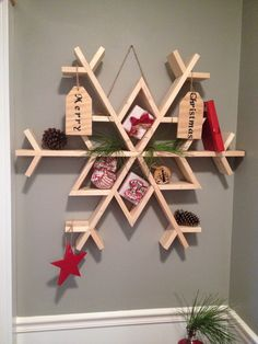 DIY Wooden Snowflake Shelf