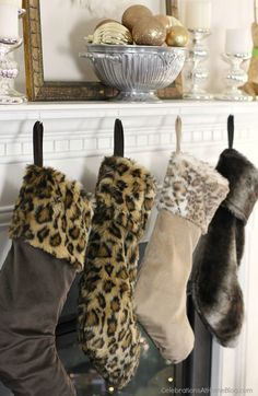 christmas animal print stockings
