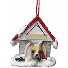 "Boxer Christmas Ornament Cropped A Great Gift For Boxer Owners Hand Painted and Easily Personalized ""Doghouse Ornament"" With Magnetic Back"