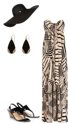 Styled: Chic beach day style / bandeau maxi dress / black + gold earrings / black wedge sandals / floppy hat / fashion inspiration by georgette