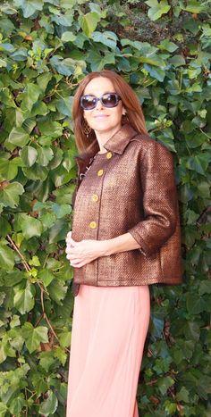 Chaqueta recta en lana encerada color bronce
