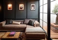 "Calm and Relaxing colors and decor, the interior designer made, ""out of the ordinary"", soft black walls, appealing."