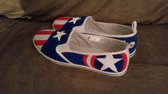 Captain America Painted Shoes by TheCraftyPotato on Etsy