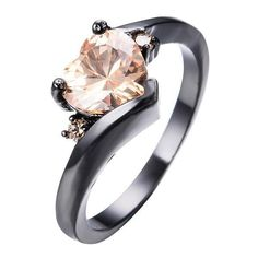 Female Heart Ring Fashion Style Black Gold Filled Jewelry Vintage Wedding Rings For Women Girlfriend Gifts
