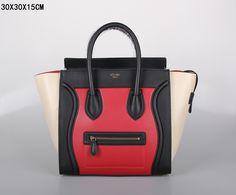 SAC CELINE LUGGAGE MINI ROUGE / NOIR / BEIGE 1.Marque  : celine 2.Style  : celine Luggage Mini 3.couleurs : Rouge / Noir / Beige 4.Matériel : Importer en cuir d'origine 5.Taille: W30 x H15 x D30 cm Celine Bag, Celine Luggage, Luggage Bags, Beige, Tote Handbags, Mini, Clutches, Totes, Style