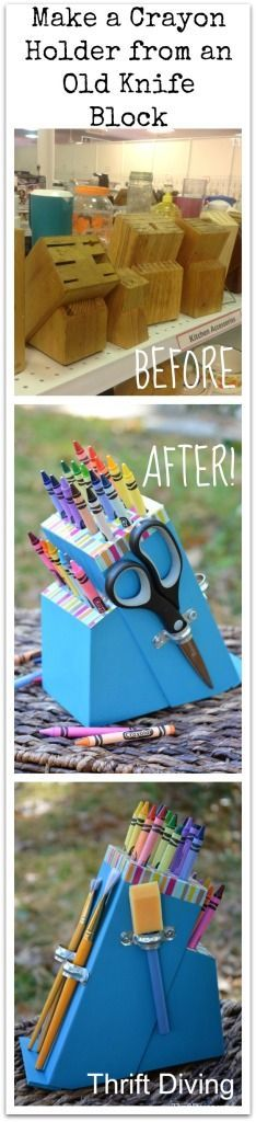 Make a Crayon Holder from an Old Knife Block. Other knife block ideas include storage for makeup brushes, colored penciles, knitting needles, and more! Tutorial includes a video! - Thrift Diving Blog