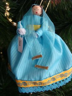 Items similar to India clothespin doll ORNAMENT - blue and gold dress, black hair - ready to ship on Etsy Blue And Gold Dress, Dress Black, Metal Spring, Clothespin Dolls, Wooden Pegs, Her Hair, Headpiece, Black Hair, Ship