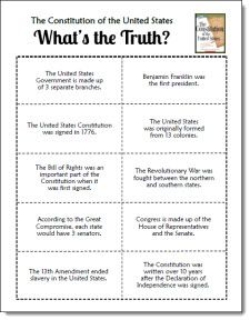 Constitution Day Freebie! True/false sorting activity with Constitution facts to use as a prereading activity