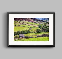 Colour landscape photograph of Swaledale, Yorkshire Dales National Park / Print / wall art / home decor / Photography / photo / Barns