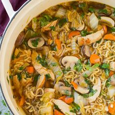 Asian Chicken Noodle Soup Recipe Soups with vegetable oil, carrots, green onions, garlic cloves, ginger, boneless skinless chicken breasts, black pepper, salt, low sodium chicken broth, soy sauce, mirin, rice vinegar, Sriracha, sesame oil, granulated sugar, napa cabbage, crimini mushrooms, ramen, chopped cilantro