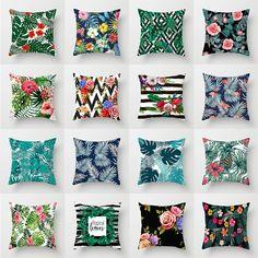 Tropical Leaves, Tropical Plants, Sofa Throw Pillows, Cushions, Cheap Cushion Covers, Linen Sofa, New Print, Home Textile, Decorative Pillows