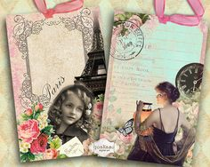 Paris Cards and Circles - Instant Download - Digital Collage Sheet - Scrapbook Paper - Vintage Cards - Printable Tags - Gift Cards