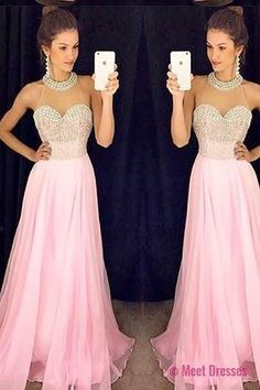 2018 Prom Dresses,Pink Evening Gowns,Sexy Formal Dresses,Chiffon Prom Dresses,2018 Fashion Evening Gown,Sexy Evening Dress,Party Dress,Bridesmaid Gowns PD20184113