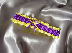 Custom embroidery available Looking to add a name or date Please contact me with your request additional fee Purple and Yellow Garter This listing includes one garter - If you Prom Garters, Garter Toss, Purple Love, Wedding Colors, Tigers Live, Dress Up, Lsu, Yellow, Trending Outfits