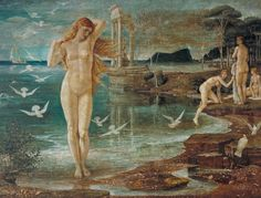 The Renaissance of Venus (1877) by Walter Crane (b. 15 August 1845; Liverpool, Lancashire, England – d. 14 March 1915; Horsham, West Sussex, England) Tempera on canvas, h: 138.4 × w: 184.1 cm (54.49 × 72.48 in.) Tate Britain, London, England https://en.wikipedia.org/wiki/Walter_Crane