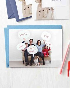 Create a comic greeting with word bubbles made out of templates and foam board. Write your message directly on the photo: Wish Grandma happy birthday, or say thanks to a special teacher.Print the Speech Bubbles Template Print the Bubble Notes Template