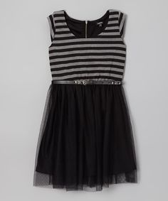 Take a look at this Zunie & Pinky Black & Gray Stripe Skater Dress on zulily today!