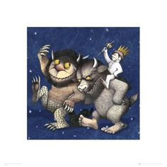 Maurice Sendak Where the Wild Things Are - Kids Book Poster, perfect for framing to hang in a little boys room