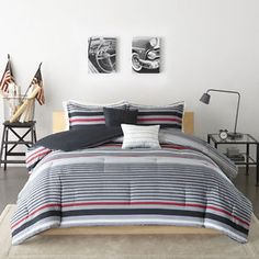 BEAUTIFUL-MODERN-GREY-RED-BLACK-WHITE-CHIC-STRIPE-BOYS-COMFORTER-SET-amp-PILLOWS