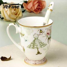 YeFine Ceramic Mug Fashion Elegant Pattern Design Coffee Mug Milk Breakfast Cup For Girl Cute Gift Porcelain Tea Cups With Spoon #Affiliate