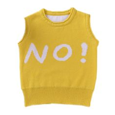 Yes & No & Up Letters Crew-neck Baby Sweater, Knitted Vest, Cute Autumn Spring Infant Girls & Boys Knitwear.