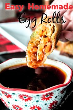 Easy Homemade Egg Rolls are the perfect easy dinner recipe idea for those weeknights when you want something light but tasty. Goes great with my homemade sweet and sour sauce Appetizer Dishes, Food Dishes, Appetizer Recipes, Appetizers, Side Dishes, Egg Roll Sauce, Veggie Egg Rolls, Homemade Egg Rolls, Chicken Spring Rolls