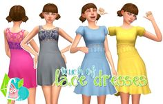 Touch of Lace Dresses at SimLaughLove • Sims 4 Updates