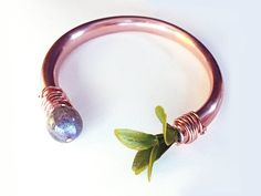 Labradorite Copper Cuff Bangle with Green Leaves by CraneGoose on Etsy