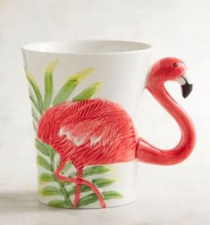 Hand painted stoneware flamingo mug. #ad #pier1 #flamingos #mugs #flamingomug