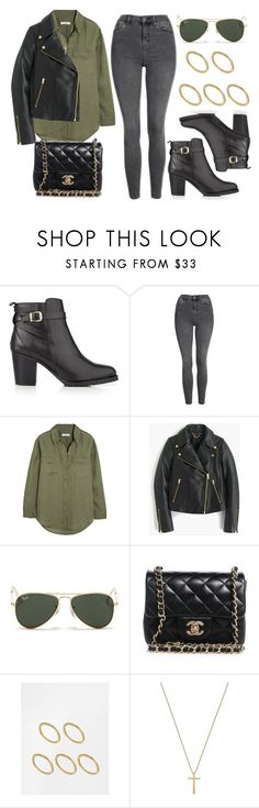 """""""#14040"""" by vany-alvarado ❤ liked on Polyvore featuring Kurt Geiger, Topshop, Equipment, J.Crew, Ray-Ban, Chanel, Made and Gucci"""