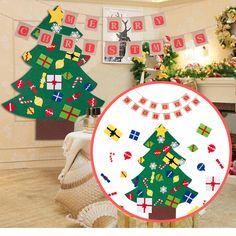 09caf0099b3a0 Set Felt Kids DIY Christmas Tree + Merry Christmas Jute Burlap Banners  Garlands  General Diy