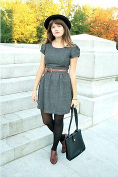 charcoal gray dress - brown shoes - black coach bag