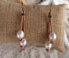 Freshwater pearl and leather earrings by sandandseapearls on Etsy