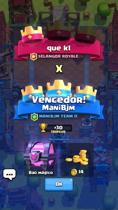 Clash Royale - Results Screen (Win) -Information shown: --Player Names --Clan Names --In-Game Objectives achieved (crowns) --Rewards (chest) --ELO Ladder Progression (trophies) Les Miserables, Black Ops, Granada, Mafia, Hogans Heroes, Royale Game, Warriors Vs, Game Ui Design, Game Interface