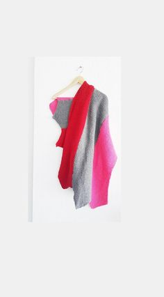 Gray Pink red Scarf Shawl Shawl Shoulder Wrap by NesrinArt on Etsy