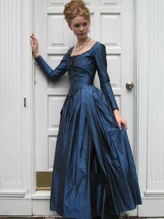 1780's Zone Front Gown in custom size and fabrics by redthreaded, $850.00