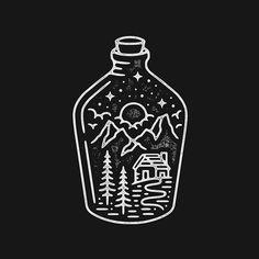 Image result for forest in bottle tattoo