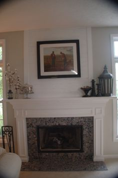 river rock and shiplap fireplace mantel make over