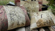 "Trio of velveteen ""toile"" pillows in Fall colours"