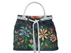 Hand Painted Flower Eco Friendly Fashion Denim Bag