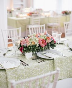 16 Ways to Dress Up Your Reception Tables With Pretty Patterns   Photo by: Emily Wren Photography   TheKnot.com