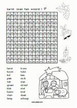 taal/lezen Kerst - Woordzoeker 1 + correctieblad