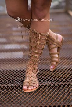 Desert Sand Lace Up Gladiator Sandals