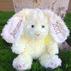 Personalized embroidered 2018 stuffed easter bunny easter gift personalized embroidered 2018 stuffed easter bunny easter gifteaster basketnew baby giftbaby shower giftbaby boy baby girl8 colors negle Image collections