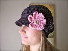 Landyn Newsgirl (Newsboy) Beanie by Crochet by Jennifer