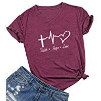 Faith Hope Love Christian T-Shirt Women Casual Letter Printed Short Sleeve Tops Tee Size S (Burgundy) Valentine T Shirts, Valentine Day Gifts, Personalized Valentine's Day Gifts, Faith Hope Love, Printed Shorts, Burgundy, Christian, Lettering, T Shirts For Women