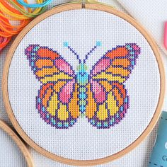 Cross Stitch Kit For Beginners – Butterfly – Complete Learn How To with Hoop and DMC Thread – Modern Design – Cross Stitch Tutorial Kit ponto cruz para iniciantes borboleta completa aprender Butterfly Cross Stitch, Cross Stitch Art, Cross Stitch Needles, Cross Stitch Designs, Cross Stitching, Cross Stitch Embroidery, Embroidery Patterns, Cross Stitch Patterns, Butterfly Pattern